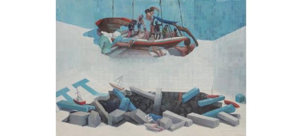 Salvavidas-en-mitad-de-una-catástrofe-Simón-Arrebola-Pintura-1000x450